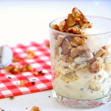 Eggless Ice Cream with Maple and Walnuts