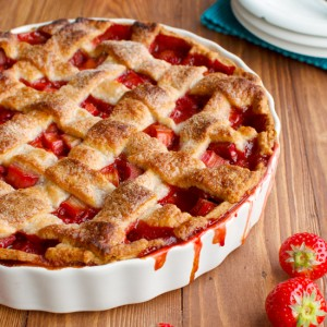 Strawberry and Rhubarb Pie with Mascarpone Cream Featured