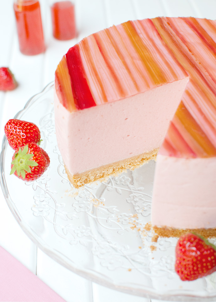 Strawberry Mousse Cake with Candied RhubarbThe Tough Cookie