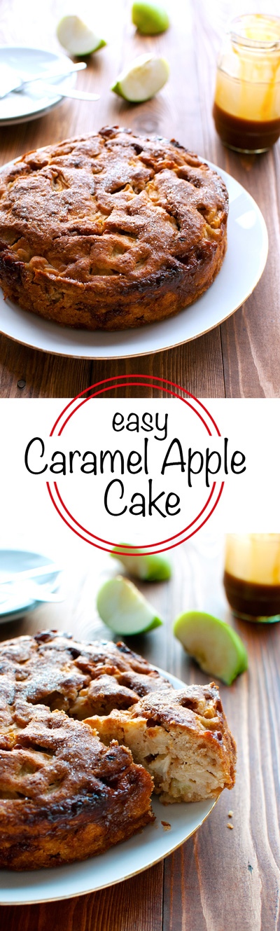 Easy Caramel Apple Cake - You don't need a mixer, just a wooden spoon. And this cake is sooooo good! | thetoughcookie.com