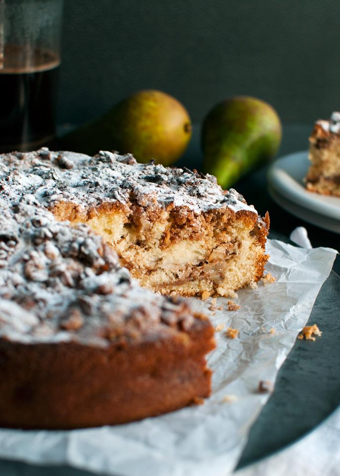 Pear and Walnut Coffee Cake