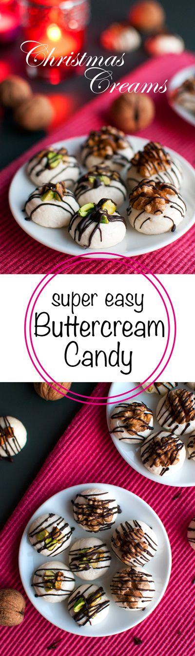 Christmas Buttercream Candy - These candies are really easy to make. All you need is your favorite buttercream, some melted chocolate, and a yummy topping! | thetoughcookie.com
