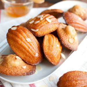 Madeleines with Almonds and Apricot Glaze Featured