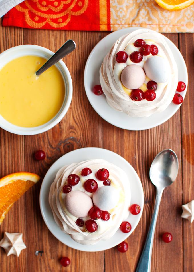 Meringue Nests with Orange Curd Cream