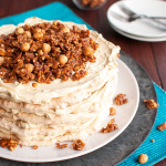 Hazelnut Meringue Layer Cake with French Coffee Buttercream and Caramelized Hazelnut Clusters