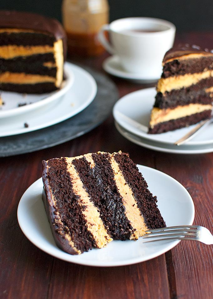 Dark Chocolate Cake with Spicy Pumpkin Buttercream