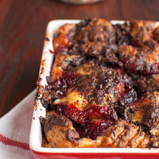 Brioche Bread Pudding with Dark Chocolate and Red Fruit