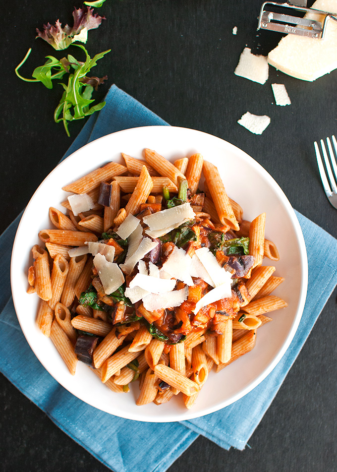 The Tough Cookie   20-Minute Eggplant and Spinach Penne Pasta   thetoughcookie.com