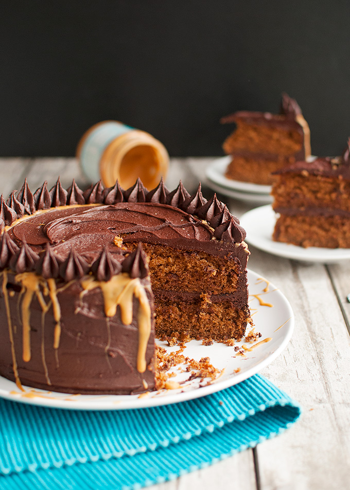 The Tough Cookie | Peanut Butter Cake with Dark Chocolate Frosting | thetoughcookie.com