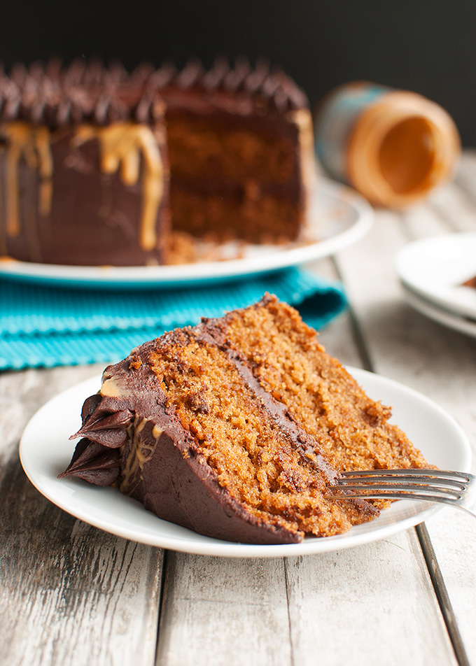 The Tough Cookie   Peanut Butter Cake with Dark Chocolate Frosting   thetoughcookie.com