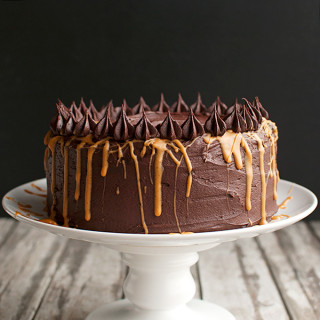 The Best Peanut Butter Cake with Dark Chocolate Frosting