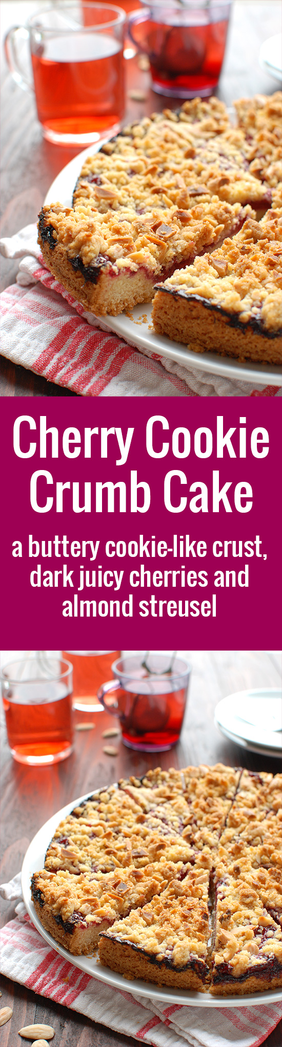 Cherry Cookie Crumb Cake - a buttery cookie-like crust, a dark cherry filling and almond streusel. Delicious! | thetoughcookie.com