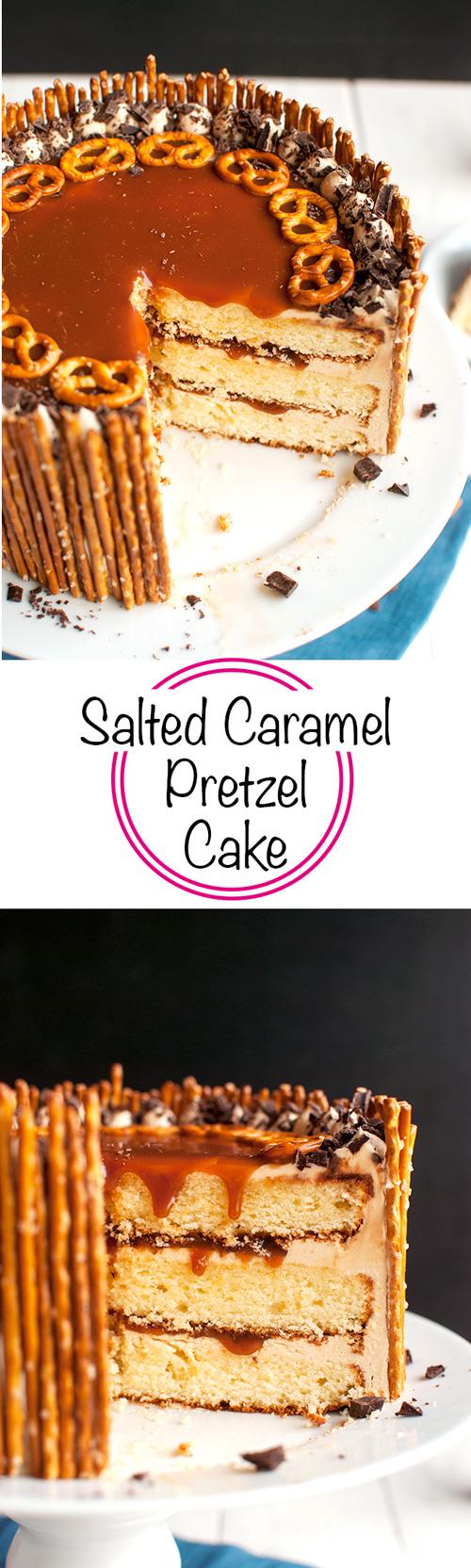 Salted Caramel Pretzel Cake - To die for! | thetoughcookie.com