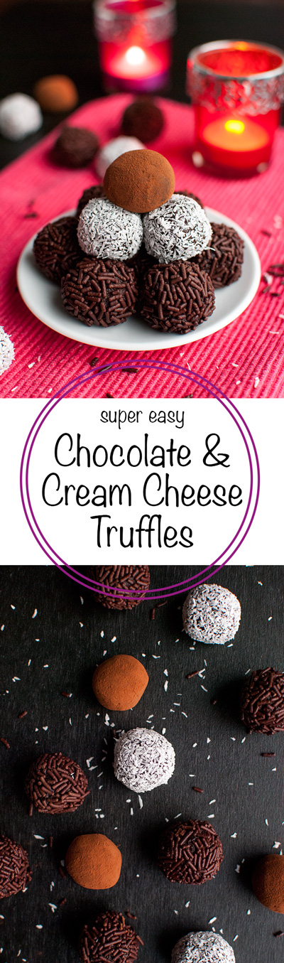 Chocolate Cream Cheese Truffles - These delicious no-bake treats are super chocolatey and incredibly easy to make. You only need 4 ingredients to make them! Perfect for Christmas ;) | thetoughcookie.com
