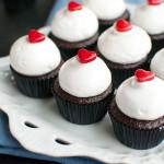 Mini Chocolate Cupcakes with Meringue & Raspberry