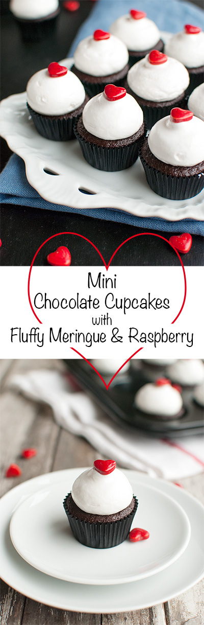 Mini Chocolate Cupcakes with Meringue and Raspberry - Delicious dark chocolate mini cupcakes, filled with raspberry jam and topped with the fluffiest meringue and a cute little heart. Perfect for Valentine's Day! | thetoughcookie.com