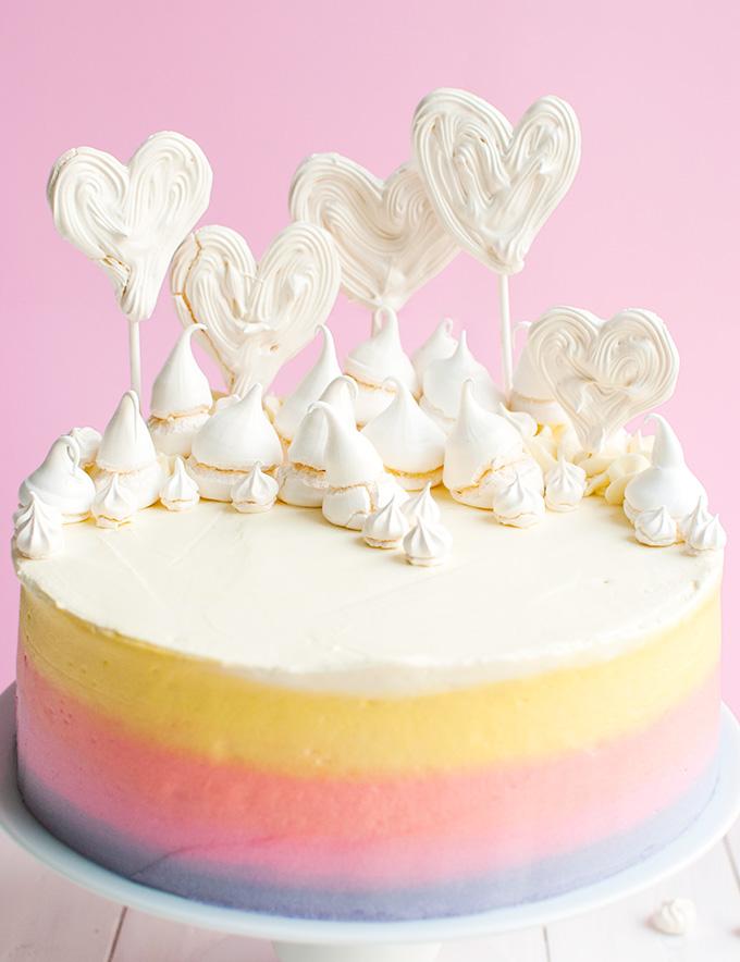 Fun Freehand Meringue Heart Pops - these make super cute cake toppes, too!   thetoughcookie.com