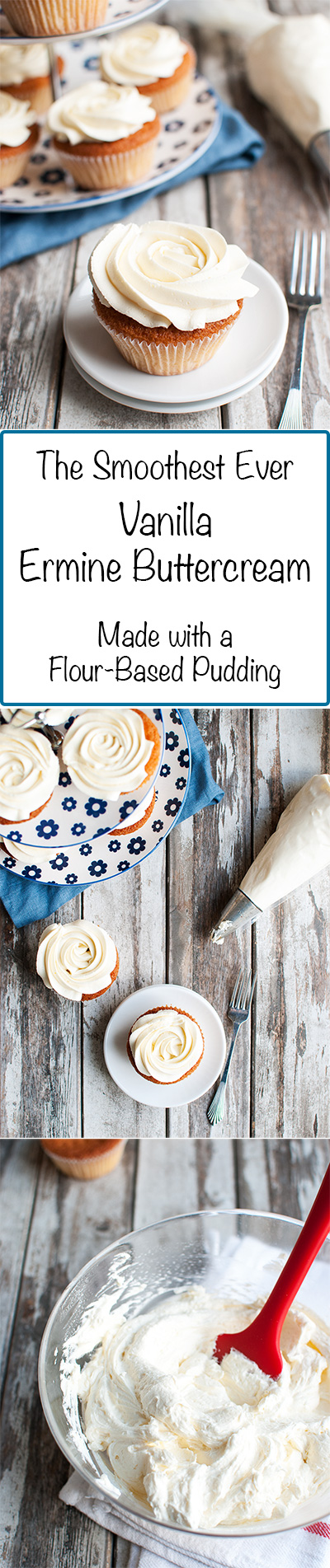 Less Sweet Flour Buttercream (aka: Ermine Buttercream) - This is the less sweet version of my famous flour buttercream. It's supersmooth, because it doesn't contain powdered sugar and is instead pudding-based! | thetoughcookie.com