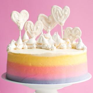 Pastel Rainbow Meringue Heart Cake