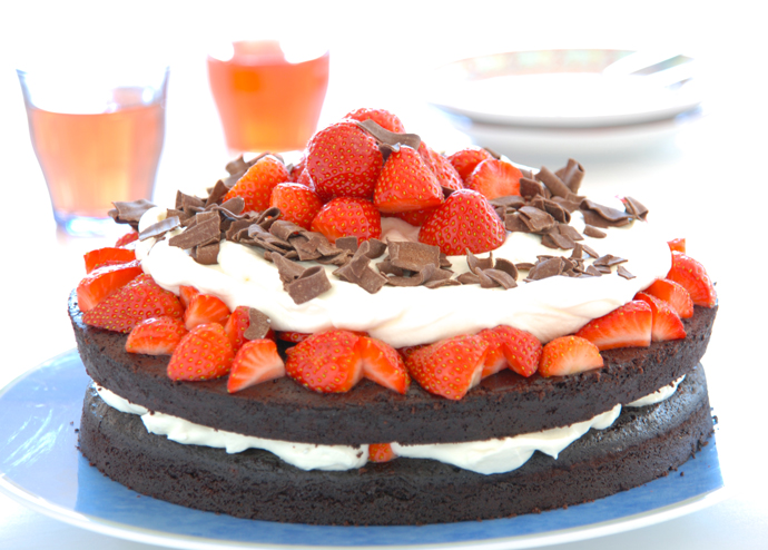 Chocolate Cake with Strawberries and Cream