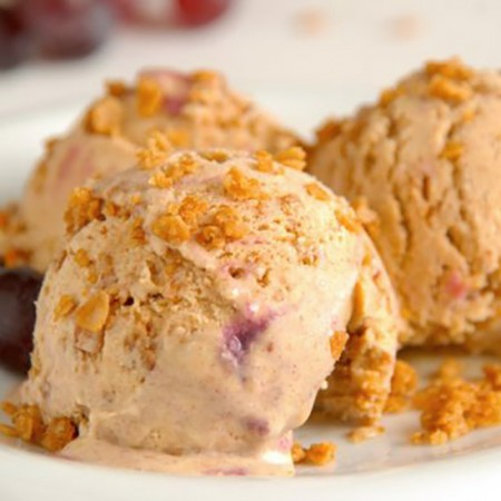Cinnamon Ice Cream with Grape Ripple and Caramelized Oats
