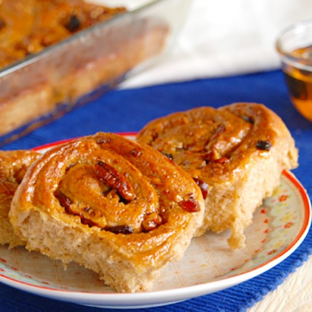 Sticky Chelsea Buns with Pecans and Cranberries
