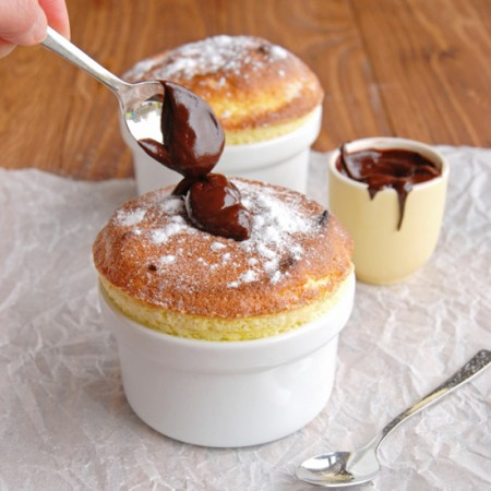 Spiced Pear Soufflés with Dark Chocolate Sauce