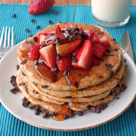 Chocolate Chip Oatmeal Pancakes with Strawberries