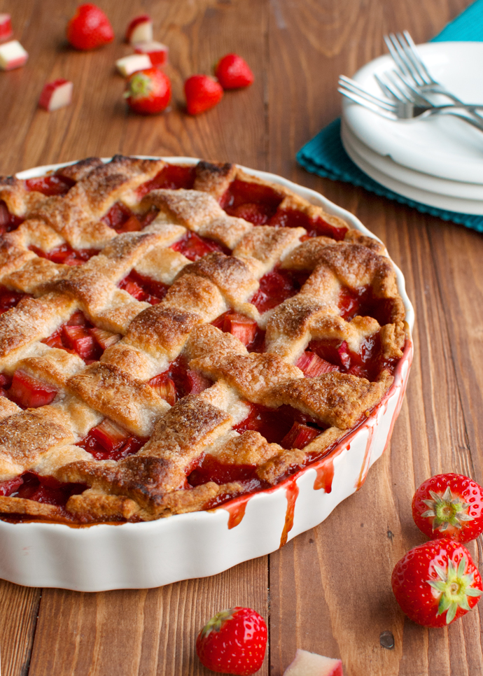 Strawberry and Rhubarb Pie with Mascarpone Cream