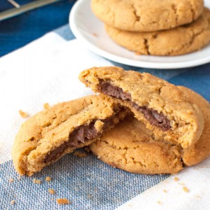 Nutella Stuffed Peanut Butter Cookies Featured
