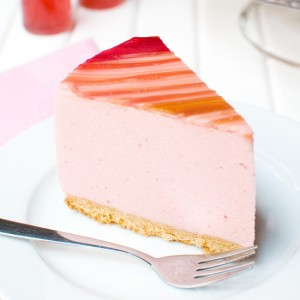 Strawberry Mousse Cake with Candied Rhubarb Featured