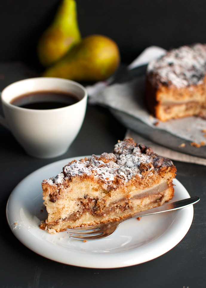 Pear and Walnut Coffee Cake