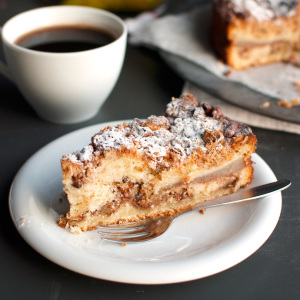 Pear and Walnut Coffee Cake Featured