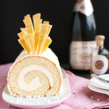 Champagne Cake Roll with Champagne Buttercream and White Chocolate