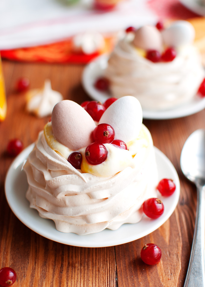 Meringue Nests with Orange Curd Cream