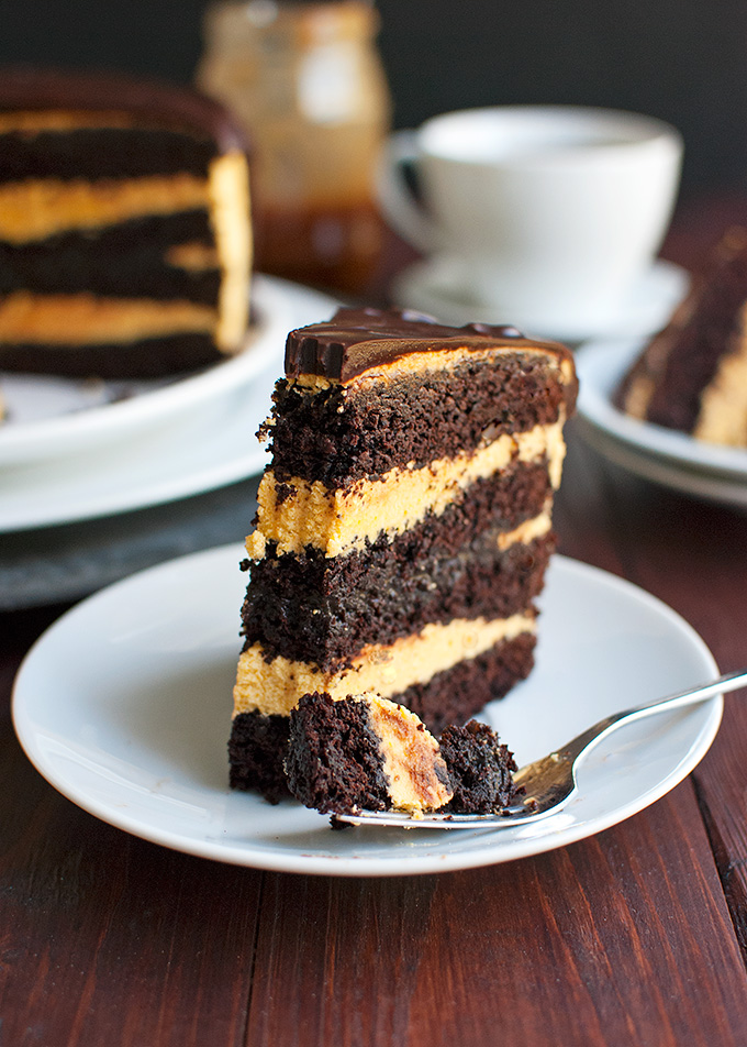 Dark Chocolate Cake with Spicy Pumpkin Buttercream