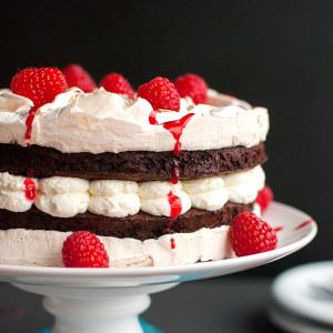 Chocolate Meringue Layer Cake with Raspberries and Cream Featured