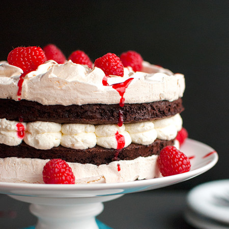 Chocolate Meringue Layer Cake with Raspberries and Cream