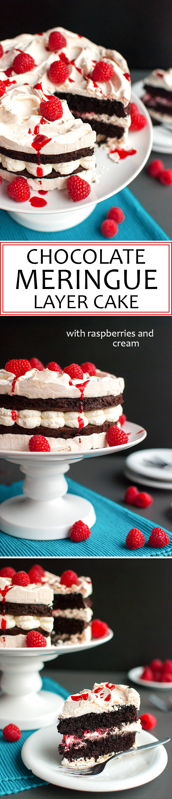 The Tough Cookie | Chocolate Meringue Layer Cake with Raspberries and Cream | thetoughcookie.com