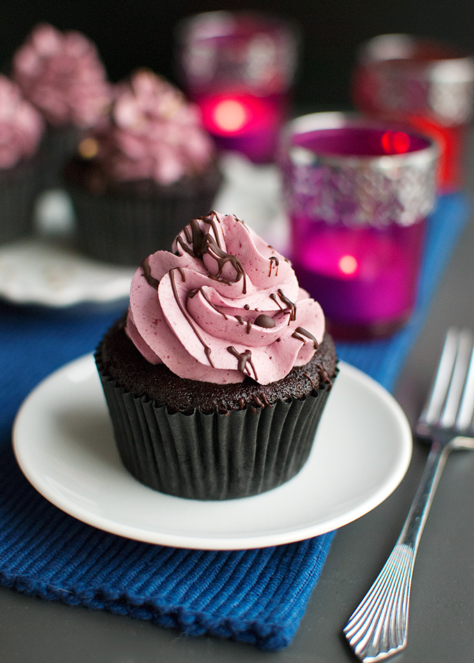 Dark Chocolate Cupcakes with Cassis Buttercream | The Tough Cookie | thetoughcookie.com