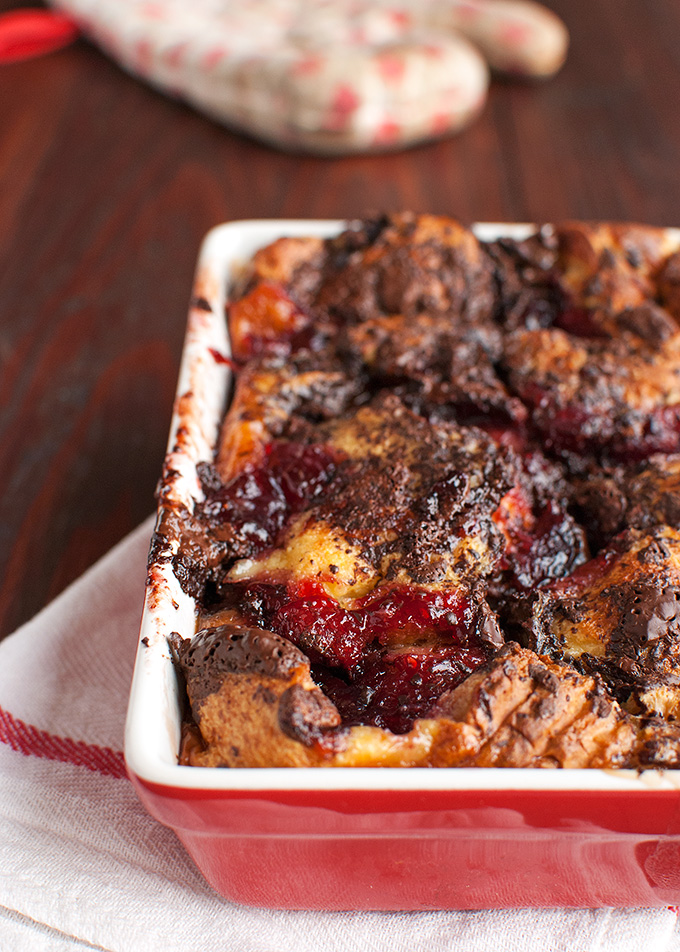 The Tough Cookie | Brioche Bread Pudding with Dark Chocolate and Red Fruit | thetoughcookie.com