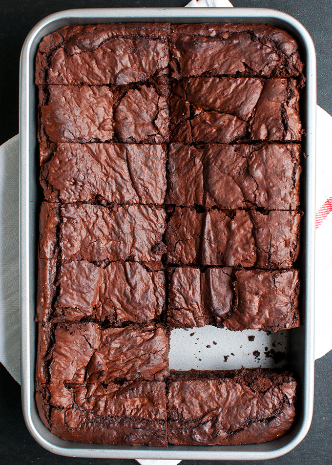 Nutella Brownies | These super fudgy brownies are made with bittersweet chocolate and Nutella. They are sooo good! | thetoughcookie.com