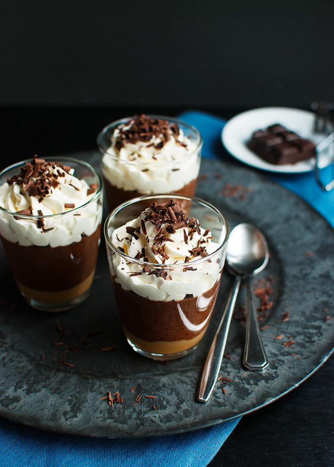 Salted Caramel Chocolate Mousse - A layer of salted caramel topped with a delicious dark chocolate mousse. The best! | thetoughcookie.com