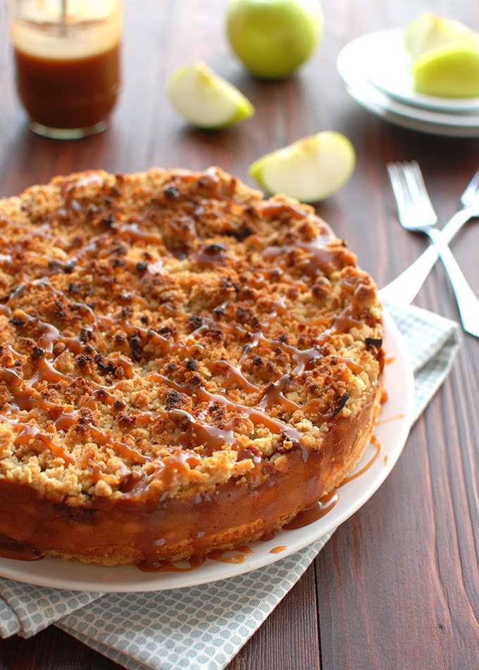 Apple Cheesecake with Buttery Streusel and a Salted Caramel Drizzle - the best cheesecake in the world! | thetoughcookie.com