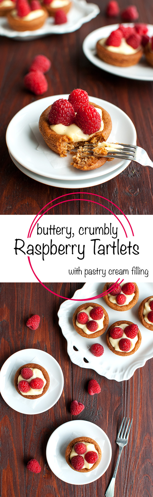 Raspberry Tartlets with Pastry Cream Filling - buttery, crumbly pastry filled with silky vanilla pastry cream and topped with fresh raspberries. Yum! | thetoughcookie.com