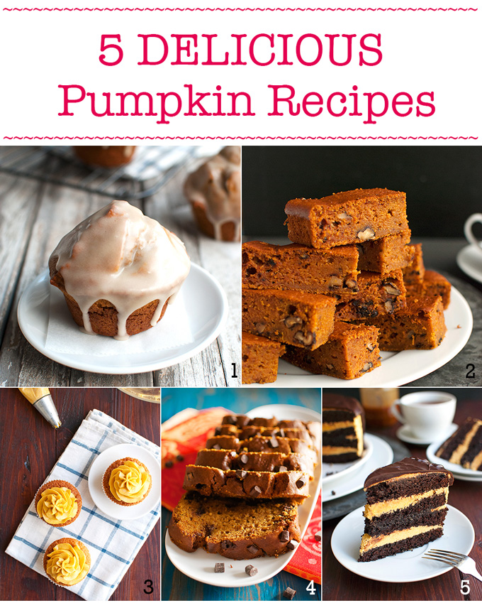 Five Delicious Pumpkin Recipes - my best pumpkin recipes. Perfect fall baking! | thetoughcookie.com