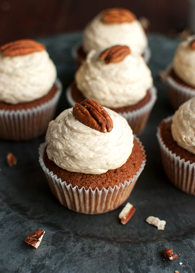 Pecan Pie Cupcakes with the Smoothest Pecan Pie Ermine Buttercream Frosting | thetoughcookie.com