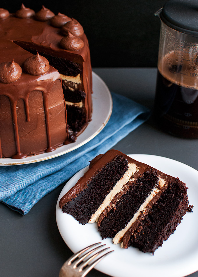 Mock Version of Proof Bakery's Chocolate Espresso Cake - Coffee soaked chocolate cake layers filled with French coffee buttercream and dark chocolate crémeux frosting, finished with a bittersweet chocolate glaze. Like coffee and chocolate? Make this!| thetoughcookie.com