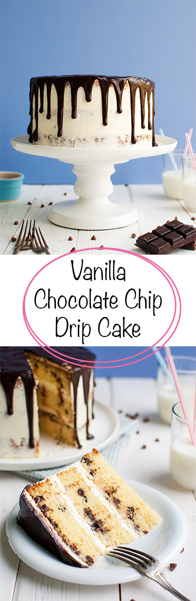 Vanilla Chocolate Chip Drip Cake - Light and fluffy vanilla chocolate chip cake layers filled with Swiss vanilla buttercream and decorated with a dark chocolate drip. Easy but delicious! | thetoughcookie.com